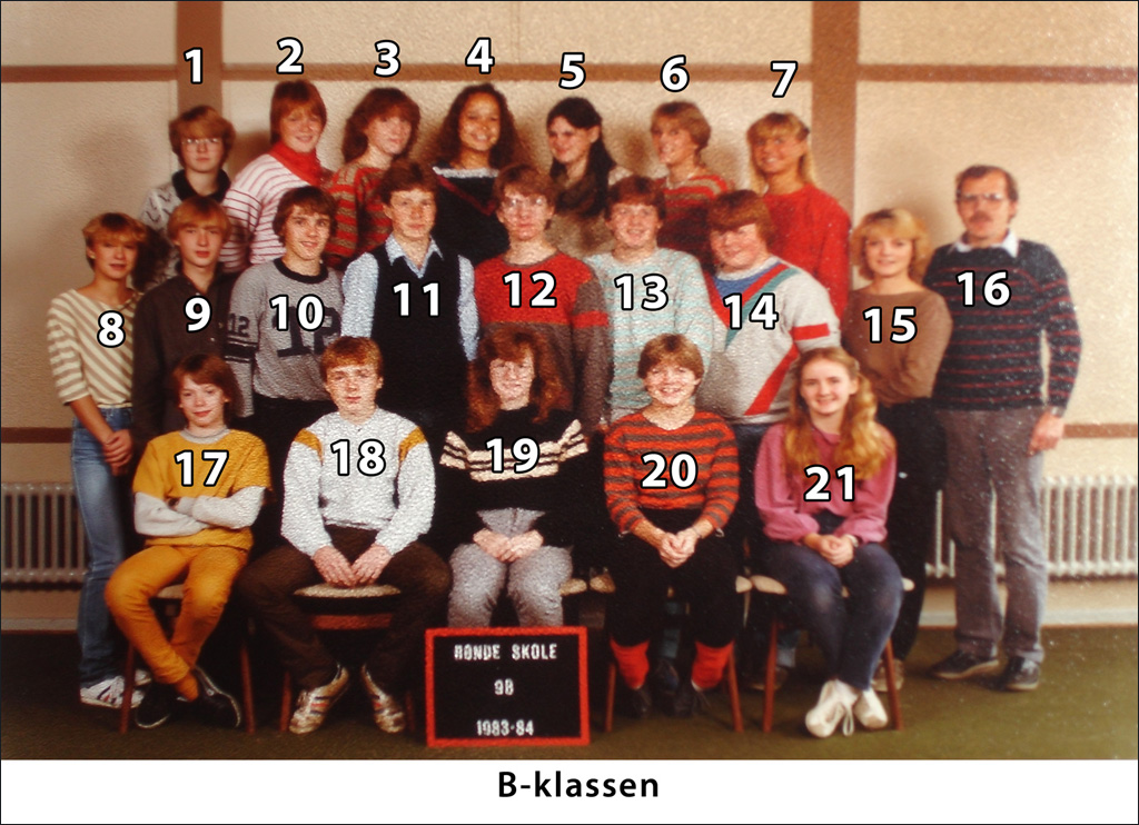 9 B. Årgang 1983-1984 Rønde Skole